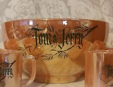 FIRE KING TOM & JERRY LUSTRE WARE PEACH PUNCH BOWL SET W/ 6 CUPS