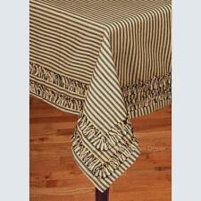 "Black and Tan TICKING STRIPE with RUFFLES Cotton Tablecloth 60"" x 90"""