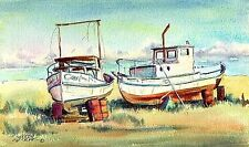 DRY DOCKED FISHING BOATS by the SEA by Sharon Sharpe!!