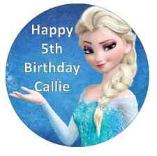 "Elsa Frozen Personalised Cake Topper 7.5"" Edible Wafer Paper Birthday Party"