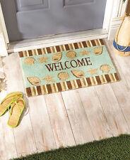 Coastal Seashells Coir Welcome Mat Doormat Front Entry Door Rug Beach Themed