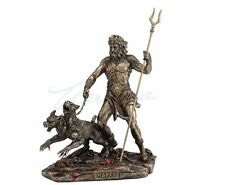 Hades Sculpture Holding Staff With Cerberus Statue Figurine - GIFT BOXED