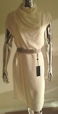 Derek Lam Silk Ivory White Sleeveless Turtle Neck Wrap Dress Sz 2