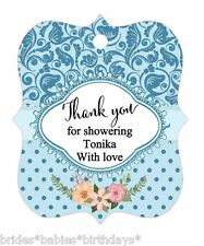 10 White Gift Tags Baby Shower Favour Bomboniere Personalised Thank you for show