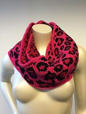 BETSEY JOHNSON Pink Black Cheetah Infinity Scarf  NEW 31.5""