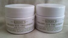 2 KIEHL'S CREAMY EYE TREATMENT WITH AVOCADO OIL .50 EACH 1 FULL OZ  NEW $0ship