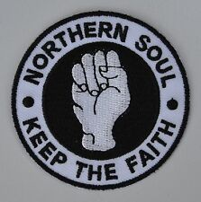 White Northern Soul Keep The Faith  Scooterists Mod Iron On/Sew On Patch