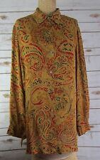 SAKS FIFTH AVENUE REAL CLOTHES Womens Silk Paisley LS Tunic Shirt Large L