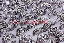 Wholesale Lot 20Pcs Mixed Skull Silver Plated Men's Rings Jewelry Big Biker Band