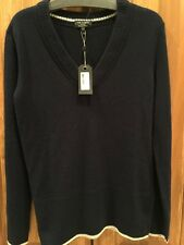 New RAG & BONE NY 100% Cashmere Navy Blue Flavia V Neck Sweater Size S