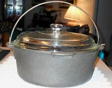 Vintage 6 Qt Dutch Oven Wagners 1891 Original Cast Iron Cookware w/ Lid