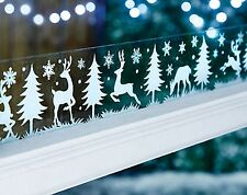 2m Long Window Border Cling Sticker Reindeer Tree Vintage Christmas Decorations