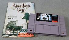 ADDAMS FAMILY VALUES + MANUAL 1994 SNES Super Nintendo PINS CLEANED TESTED WORKS