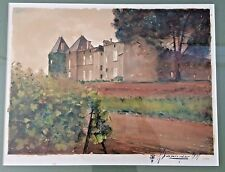 Claude Babinger Chateau Yquem Watercolor Painted with a Sauternes 1989 Signed