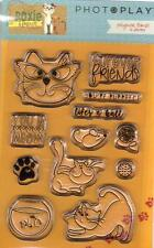 New PHOTOPLAY CLEAR rubber stamp SET ROXIE AND FRIENDS CAT MOUSE FISH
