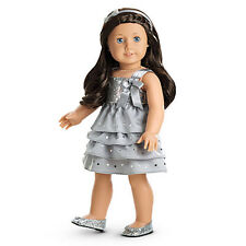 "American Girl MY AG SILVER SHIMMER DRESS for 18"" Dolls Gown Shoes Clothes NEW"