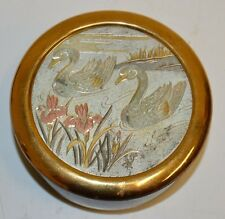 Nice Vintage Asian Birds 24KT Gold Plated Ceramic Powder Box Japan
