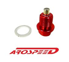 AROSPEED 12X1.75MM RACING MAGNETIC OIL DRAIN PLUG BOLT W/ CRUSH WASHER RED