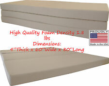 "Queen Size Tan Trifold Floor Foam Beds 4""x60""x80"" Foldable foam Ottoman Bed"