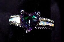 Sterling 925 Silver SF Size 10 Ring White Lab Fire Opal 7mm Rainbow Topaz Heart
