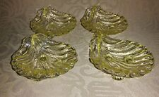 4 Yellow Depression Sandwich Glass Seashell Salt Dipping Dishes Bowls Vintage