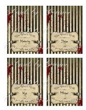Halloween grunge personalized table name place cards set of 8