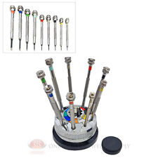 9 Piece Jewelers Screwdriver SetStand Watch Jewelry Eyeglasses Repair Tools