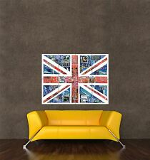 POSTER PRINT POSTAGE STAMP COLLAGE GREAT BRITAIN UNION FLAG JACK UK QUEEN SEB519