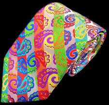 LAWRENCE IVEY, HANDMADE WHITE & MULTICOLOUR 'PAISLEY APOSTROPHE' TIE, FREEPOST