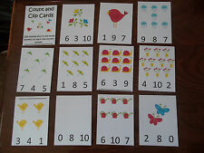 Spring Laminated Count and Clip Dry Erase Cards. Preschool Math Learning Games.