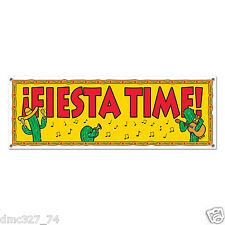 "FIESTA Cinco de Mayo Party Decoration FIESTA TIME SIGN BANNER 60"" x 21"""