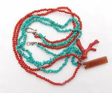 """CL BY DESIGN COLEEN LOPEZ TURQUOISE & CORAL STERLING SILVER NECKLACE  25"""""""