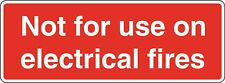 Health and Safety Fire Sticker Not for use on electrical fires sticker red