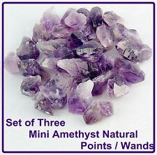 3 x AMETHYST POINTS, NATURAL RAW CYRSTALS, SMALL, Power of 3 Set, Gift Pouch