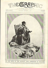 1915 WWI PRINT ~ KING FERDINAND OF BULGARIA SEATED ON WOODEN CHAIR