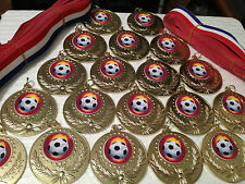 30 Large 50mm Gold Metal Football Medals Great Value FREE RIBBONS FREE DELIVERY