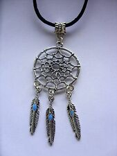 "A  Dream Catcher Feather Tibetan Silver Charm Long 30"" Black cord Chain Necklace"
