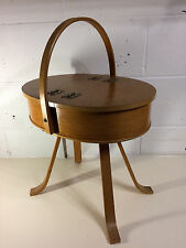 RARE Vintage MORCO ART DECO WOODEN SEWING BOX British Made Velvet Lined - VGC