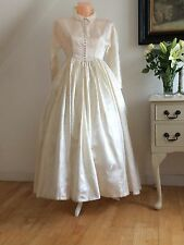 VINTAGE 50s CHAMPAGNE SILK BROCADE TEA LENGTH DRESS RETRO WEDDING PINUP COUTURE