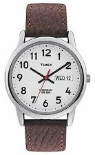 Timex T20041 Men's Indiglo Easy Reader White Dial Leather Band Watch