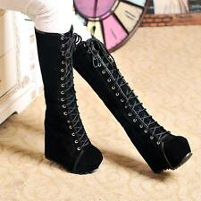 Womens Punk Lace Up Platform Wedge Heel Knee High Boots Gothic Shoes Black US 9