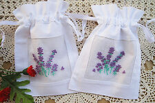 Vintage White Cotton Sachet Bags Drawstring Ribbons Embroidered Lavender Pouch