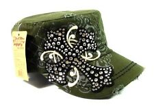 Rhinestone Bling Cross Biker Motorcycle Cadet Hat