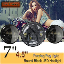 7'' Black Projector Daymaker Headlight LED + 2x 4.5'' Passing Lights For Harley