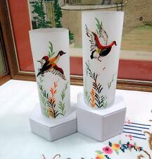 """2 PC VINTAGE GAME BIRDS DUCK AND GOOSE 6"""" FROSTED TALL TUMBLERS"""
