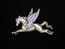 """JJ"" Jonette Jewelry Silver Pewter 'Majestic PEGASUS' Pin Flying Horse"