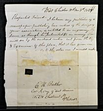 West Chester,PA 1840's Stampless Letter Cover to Philadelphia Cyrus P. Printer f