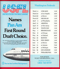 1980's USFL Pan Am Airlines Washington Federals Schedule
