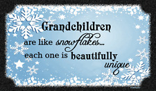 (Grandkids & Snowflakes)   DISTRESSED SIGN / PLAQUE, WALL DECOR, PRIMITIVE SIGN