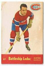 1955-56 Quaker Oats Hockey Card Battleship Leduc OTG #61 (EX)